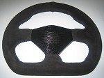 Suede D shaped steering wheel/black thread