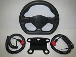 D shaped carbon fiber wrapped wheel with 5 button mount and 2 mushroom buttons