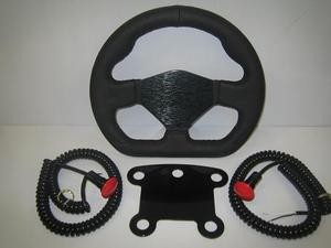 Leather D shaped steering wheel with 5 button mount and 2 mushroom buttons