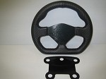 D shaped carbon fiber wrapped steering wheel with 5 button mount