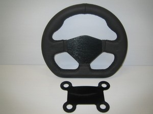 Leather D shaped steering wheel with 4 button mount